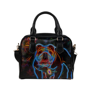 English Bulldog Glow Design 2 Shoulder Handbag - TeeAmazing