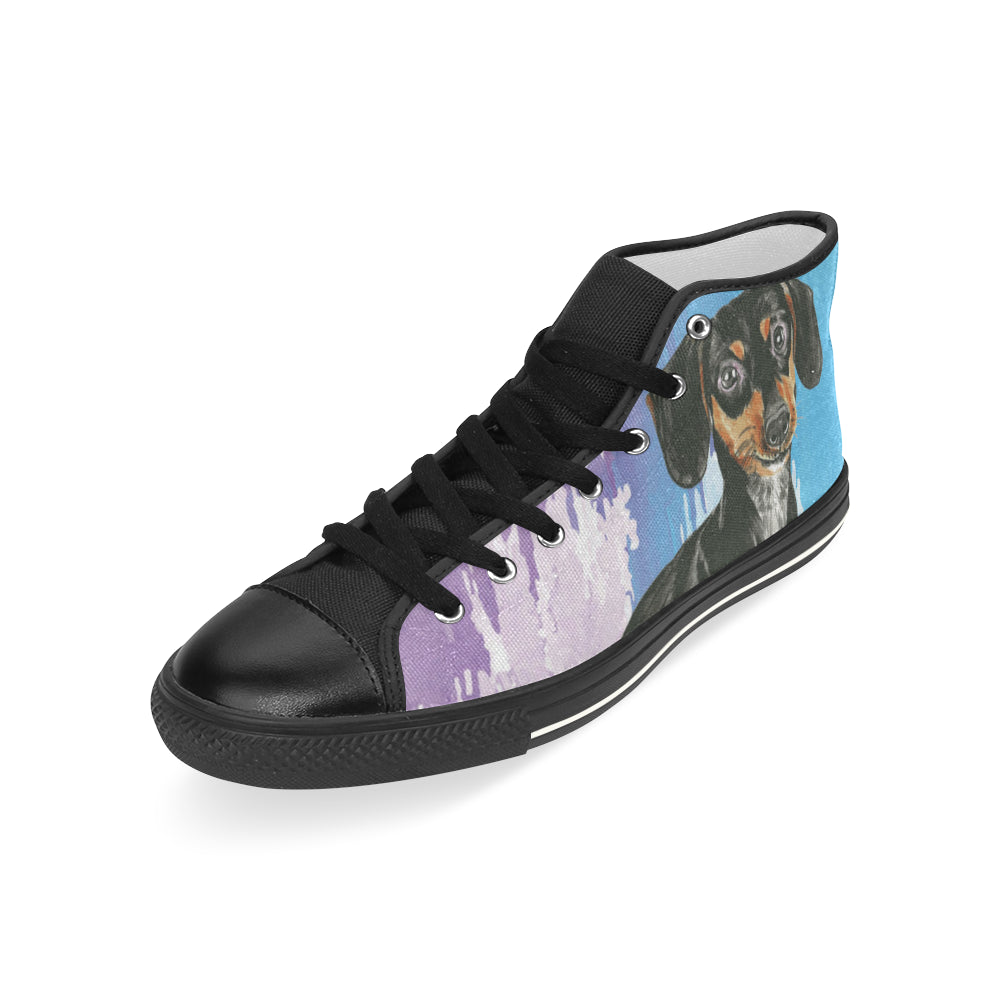 Dachshund Water Colour No.1 Black Men's Classic High Top Canvas Shoes - TeeAmazing