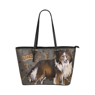 Shetland Sheepdog Dog Leather Tote Bag/Small (Model 1651) - TeeAmazing