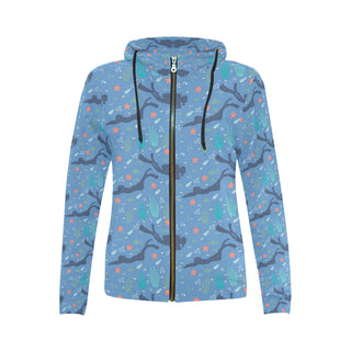 Scuba Diving Pattern All Over Print Full Zip Hoodie for Women (Model H14) - TeeAmazing