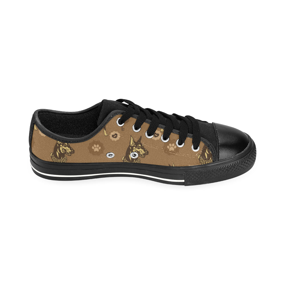 Doberman Black Men's Classic Canvas Shoes/Large Size - TeeAmazing