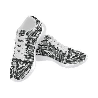 Biker Engine White Sneakers for Women - TeeAmazing