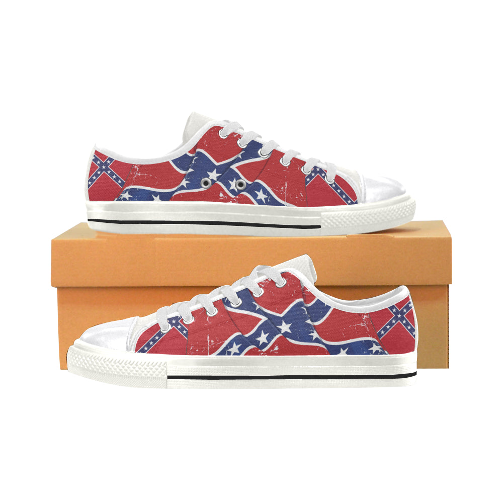 confederate flag white canvas women s shoes large size