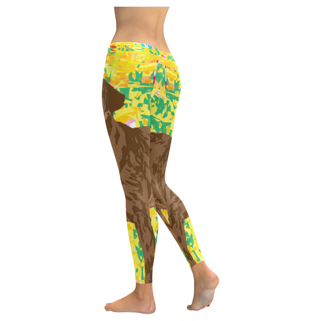 Chocolate Lab Low Rise Leggings (Model L05) - TeeAmazing