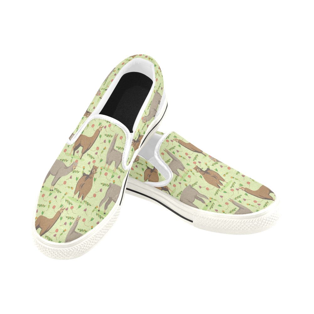 llama White Women's Slip-on Canvas Shoes/Large Size (Model 019) - TeeAmazing