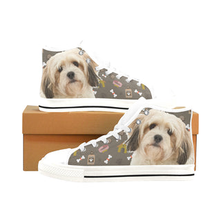 Cavachon Dog White Men's Classic High Top Canvas Shoes /Large Size (Model 017) - TeeAmazing