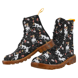 Jack Russell Terrier Flower Black Martin Boots For Women Model 1203H - TeeAmazing