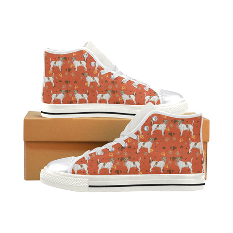 Jack Russell Terrier Water Colour Pattern No.1 White Women's Classic High Top Canvas Shoes - TeeAmazing