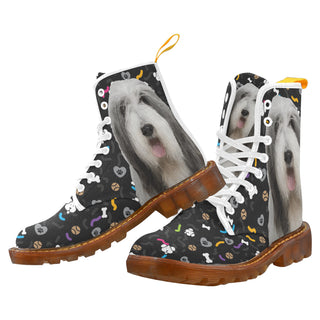 Bearded Collie Dog White Martin Boots For Men - TeeAmazing