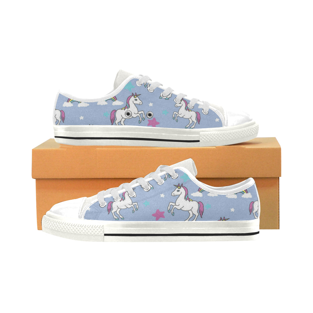 Unicorn Pattern White Low Top Canvas Shoes for Kid - TeeAmazing