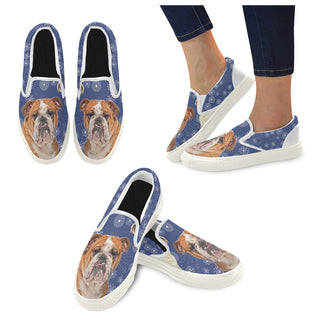 English Bulldog Lover White Women's Slip-on Canvas Shoes - TeeAmazing