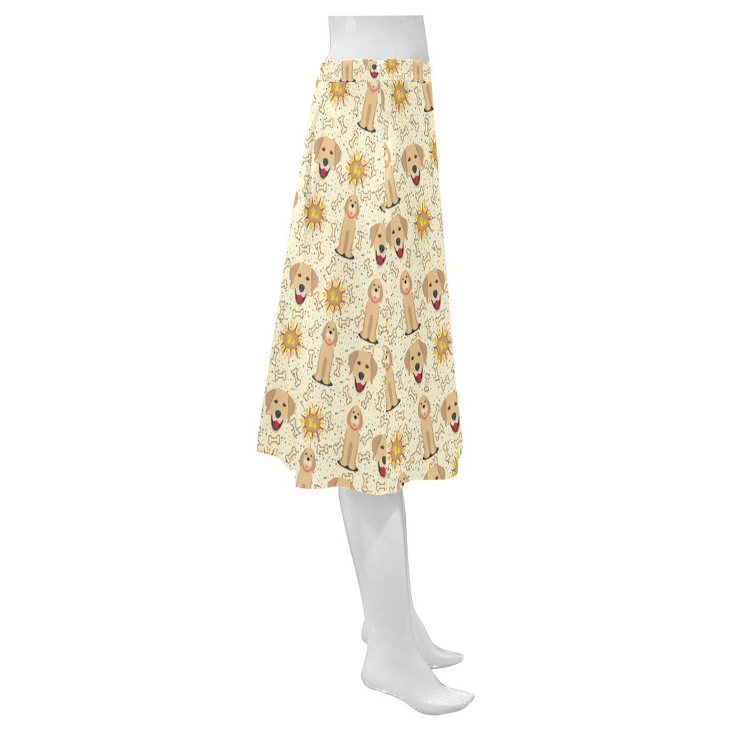 Golden Retriever Pattern Mnemosyne Women's Crepe Skirt - TeeAmazing