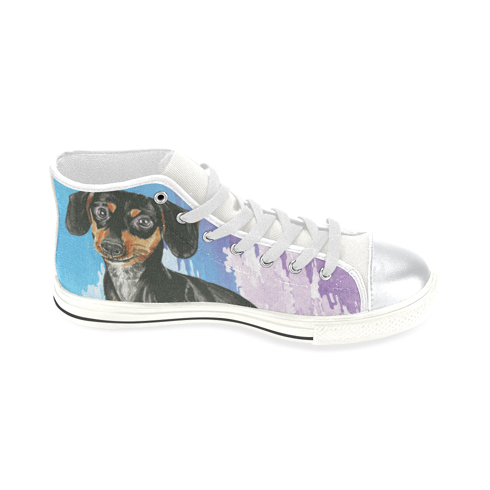 Dachshund Water Colour No.1 White High Top Canvas Shoes for Kid - TeeAmazing