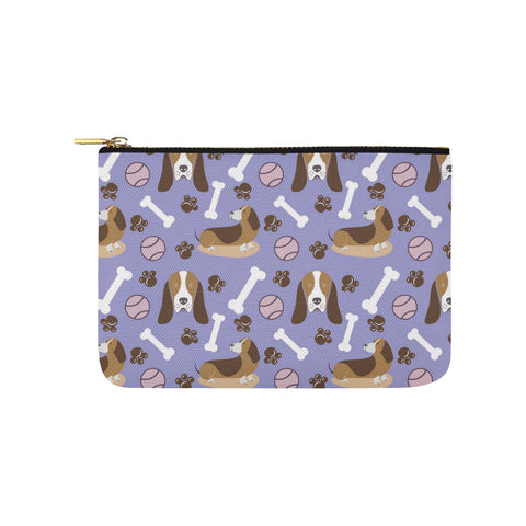 Basset Hound Pattern Carry-All Pouch 9.5x6 - TeeAmazing