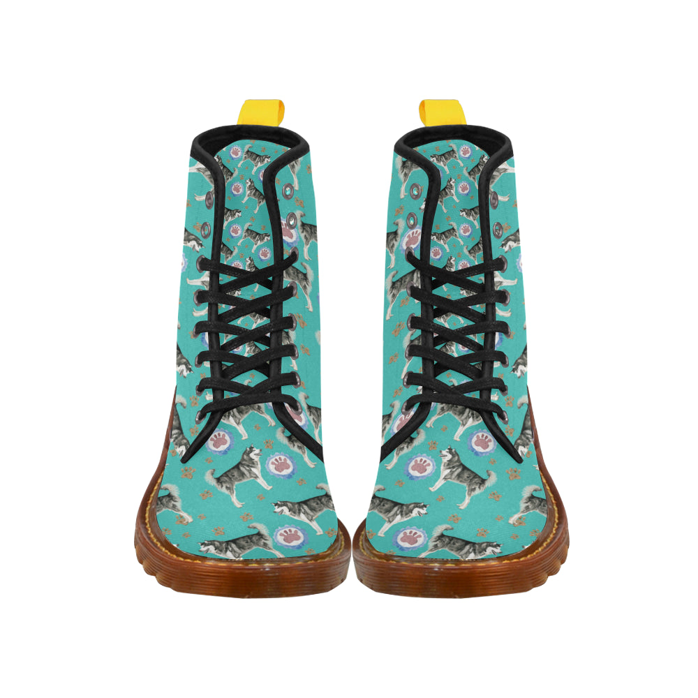Alaskan Malamute Water Colour Pattern No.1 Black Boots For Women - TeeAmazing