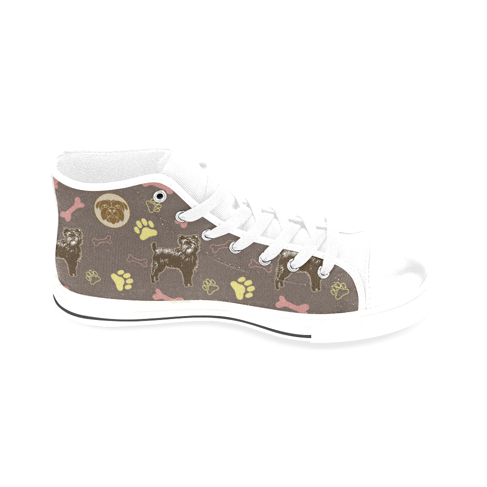 Affenpinschers Pattern White Men's Classic High Top Canvas Shoes /Large Size - TeeAmazing