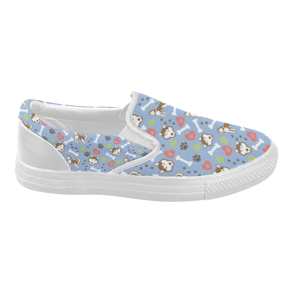 Alaskan Malamute Pattern White Women's Slip-on Canvas Shoes - TeeAmazing