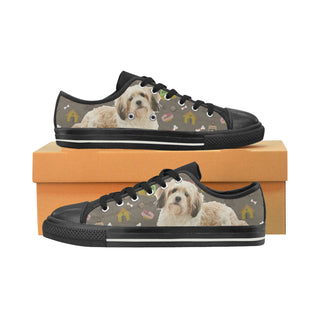 Cavachon Dog Black Canvas Women's Shoes/Large Size (Model 018) - TeeAmazing