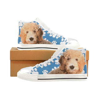 Goldendoodle White High Top Canvas Shoes for Kid - TeeAmazing