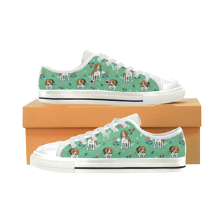 Beagle Flower White Canvas Women's Shoes/Large Size (Model 018) - TeeAmazing