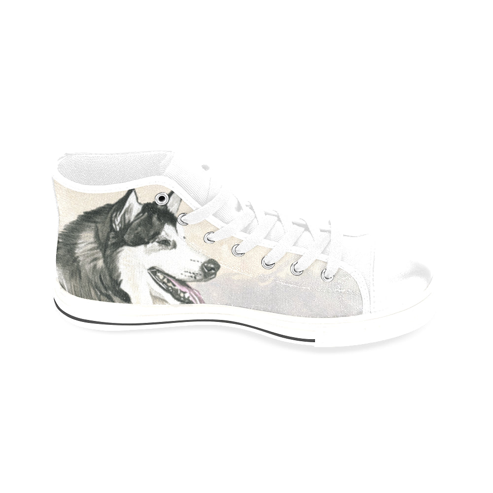Alaskan Malamute Water Colour White Men's Classic High Top Canvas Shoes /Large Size (Model 017) - TeeAmazing