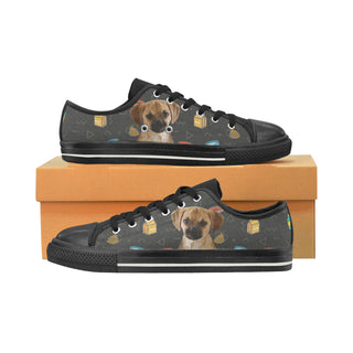 Puggle Dog Black Women's Classic Canvas Shoes (Model 018) - TeeAmazing
