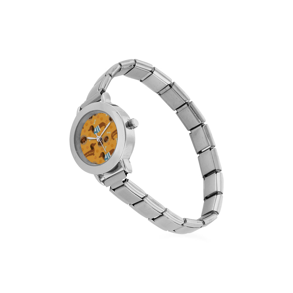 Dachshund Pattern Women's Italian Charm Watch - TeeAmazing