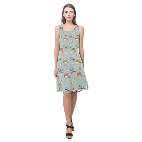 Greyhound Pattern Sleeveless Splicing Shift Dress - TeeAmazing