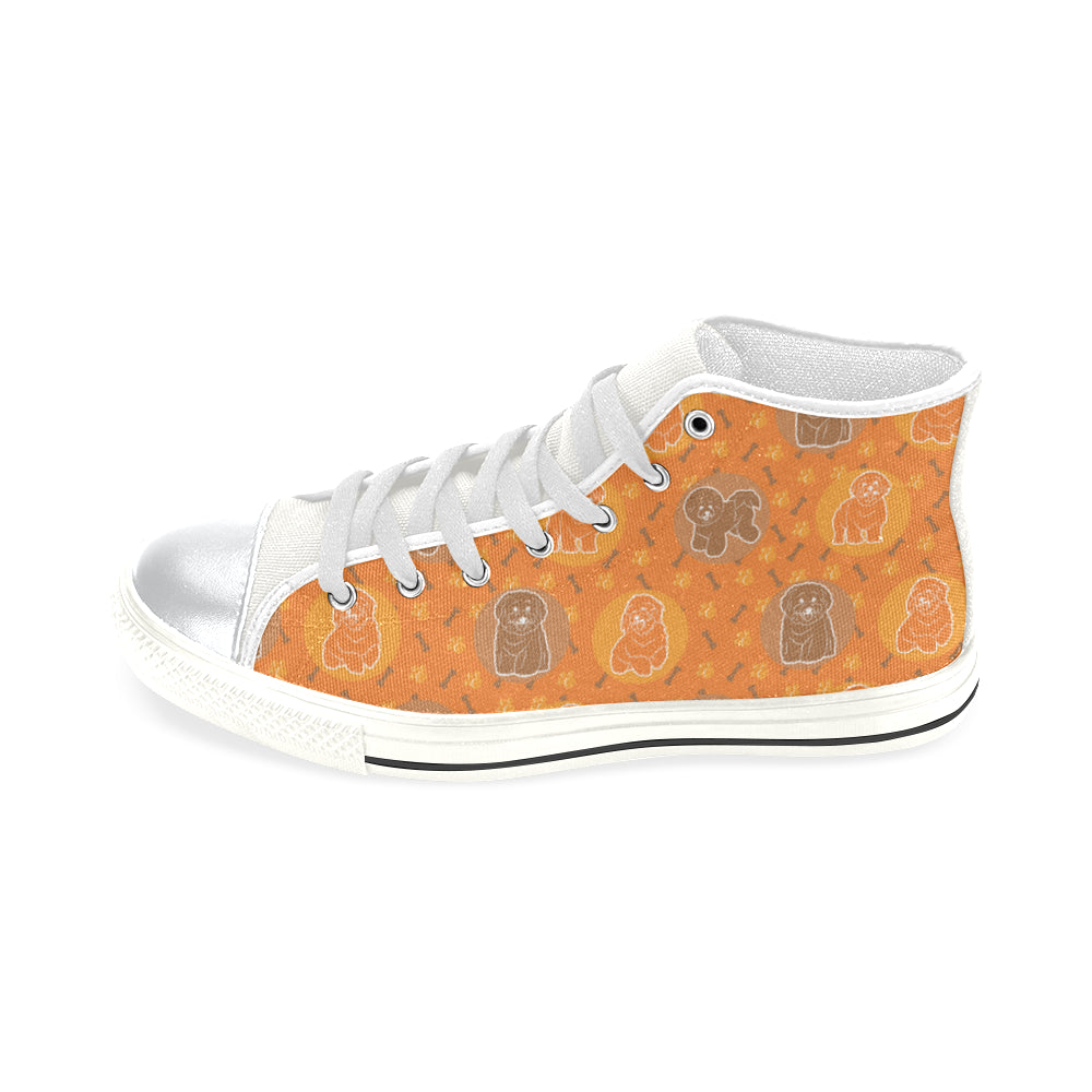 Bichon Frise Pattern White High Top Canvas Women's Shoes/Large Size - TeeAmazing