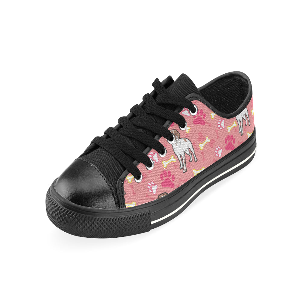 Brittany Spaniel Pattern Black Low Top Canvas Shoes for Kid - TeeAmazing