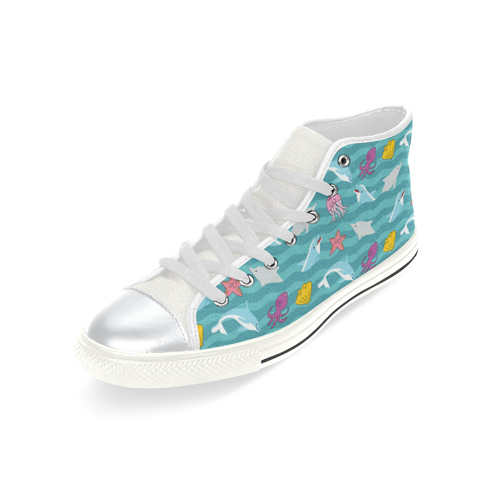 Dolphin White High Top Canvas Women's Shoes/Large Size - TeeAmazing