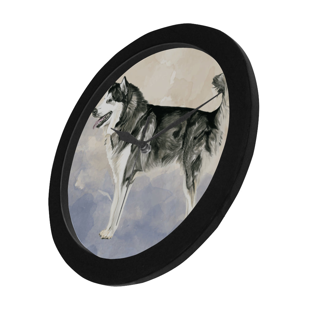 Alaskan Malamute Water Colour Black Circular Plastic Wall clock - TeeAmazing