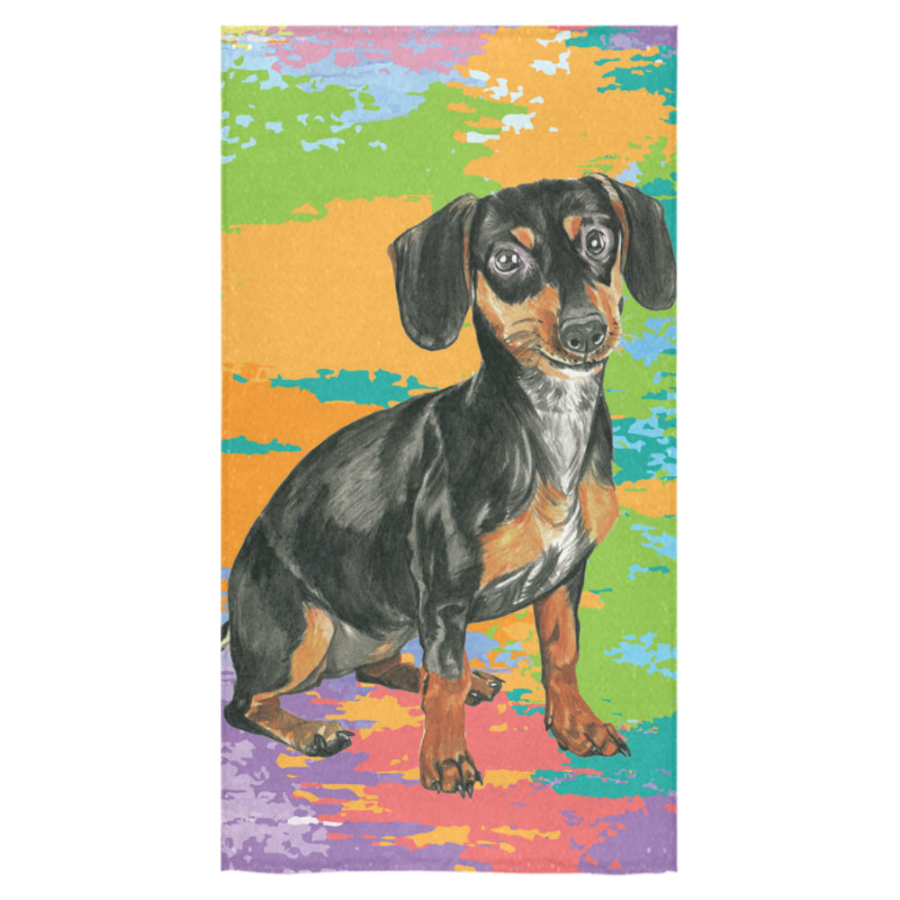 "Dachshund Water Colour No.2 Bath Towel 30""x56"" - TeeAmazing"