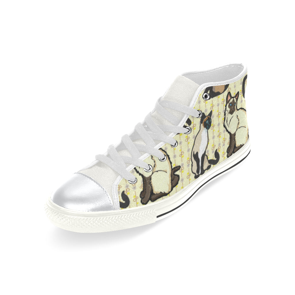 Siamese White High Top Canvas Women's Shoes/Large Size - TeeAmazing