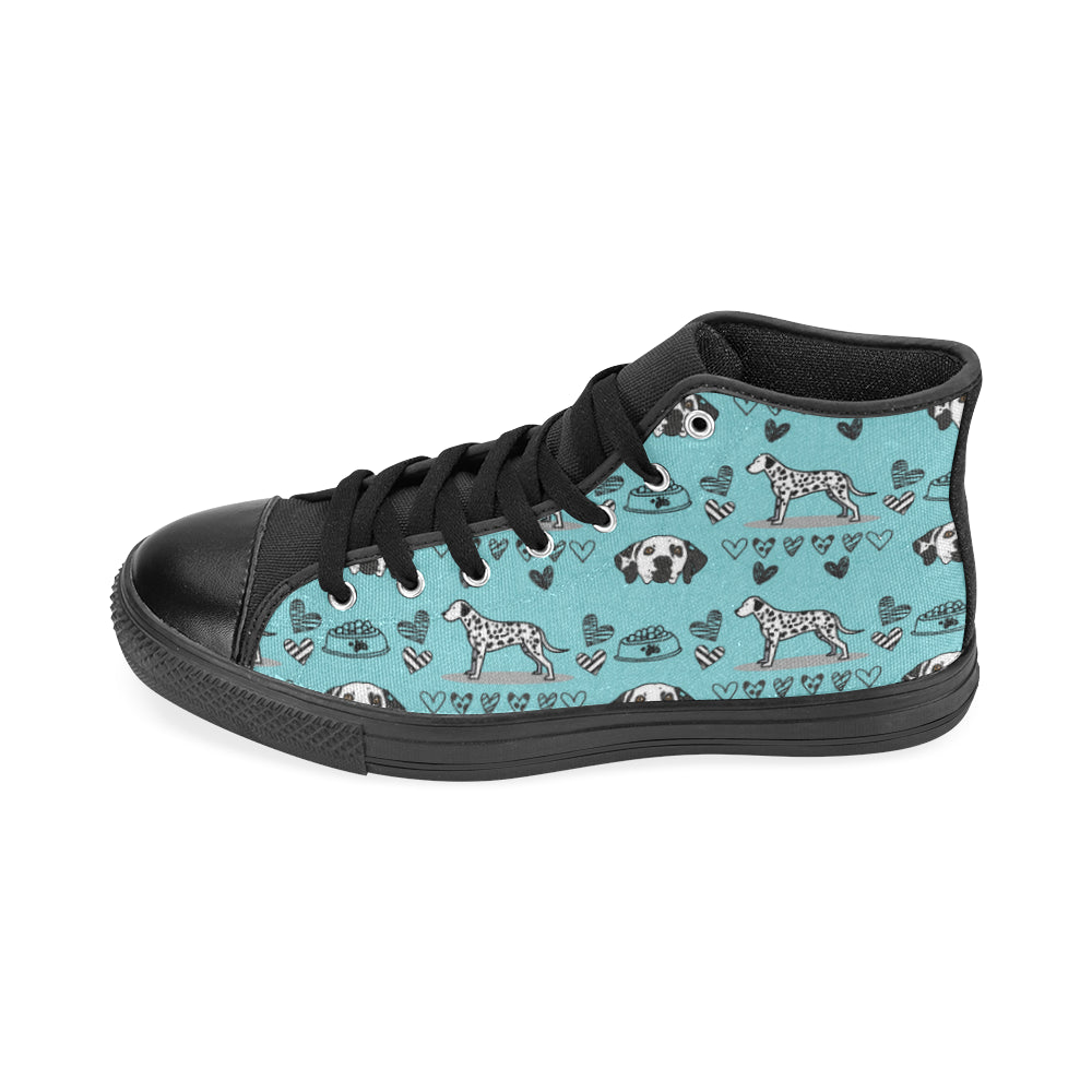 Dalmatian Pattern Black High Top Canvas Shoes for Kid - TeeAmazing