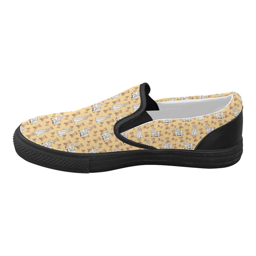 Afghan Hound Pattern Black Women's Slip-on Canvas Shoes (Model 019) - TeeAmazing