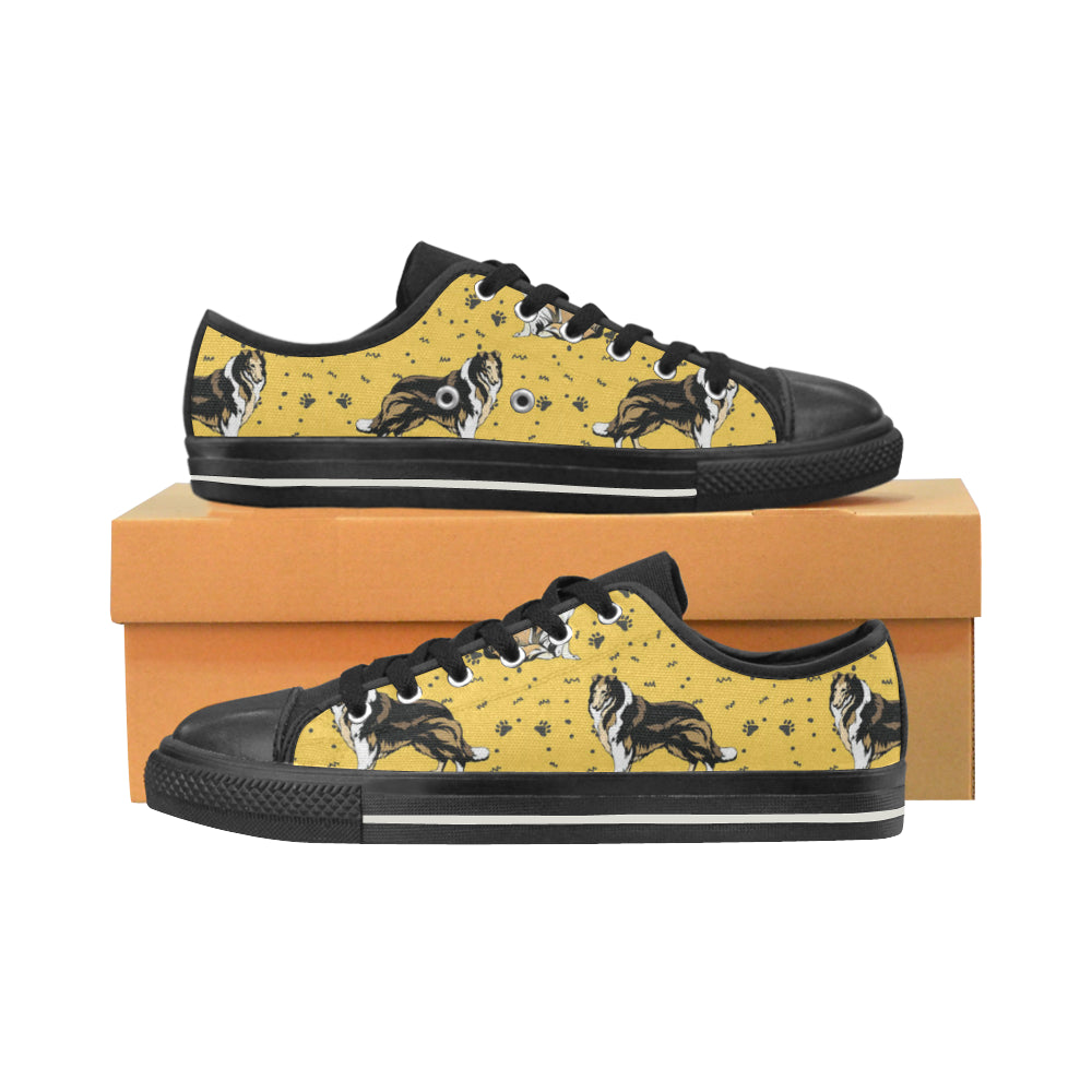 Collie Black Low Top Canvas Shoes for Kid - TeeAmazing