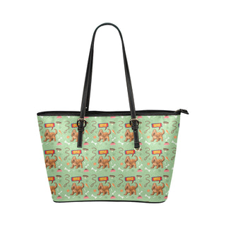 American Cocker Spaniel Pattern Leather Tote Bag/Small - TeeAmazing