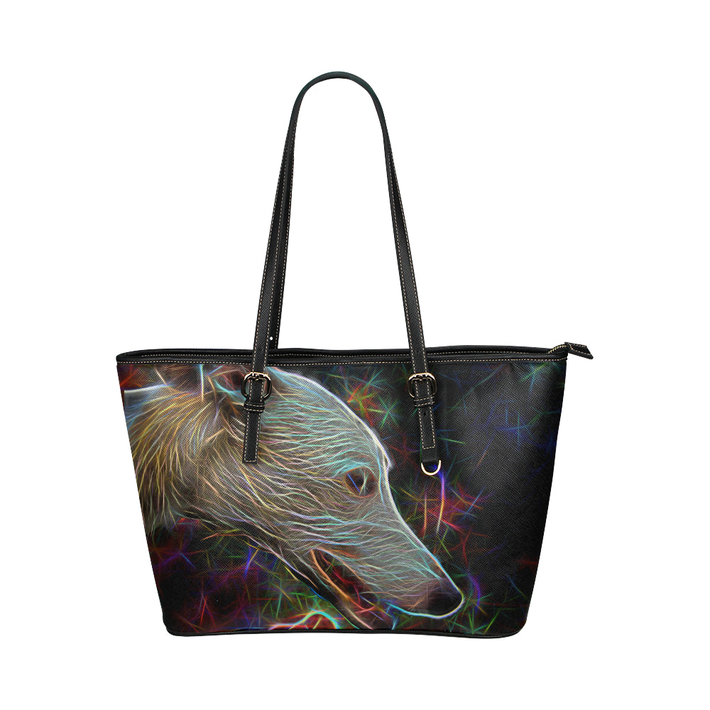 dcce6f758c9 Italian Greyhound Glow Design 3 Leather Tote Bag/Small