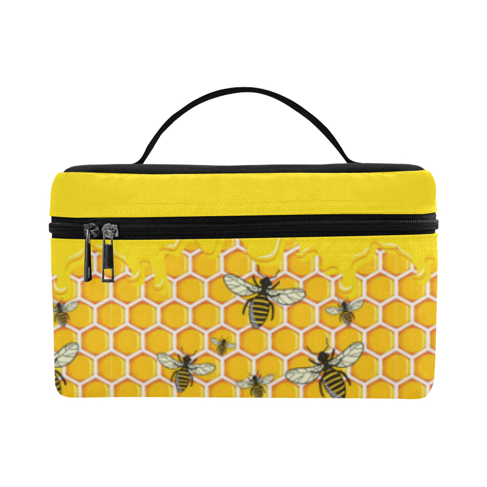 Bee Pattern Cosmetic Bag/Large - TeeAmazing