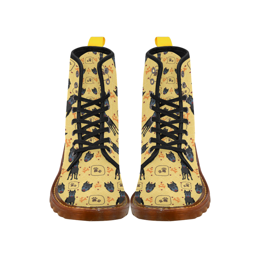 Cane Corso Pattern Black Boots For Men - TeeAmazing