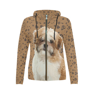 Maltese Shih Tzu Dog All Over Print Full Zip Hoodie for Women - TeeAmazing
