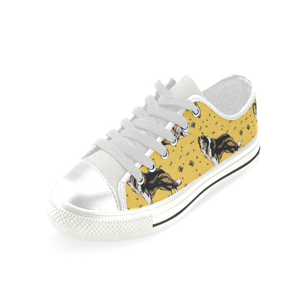 Collie White Low Top Canvas Shoes for Kid - TeeAmazing