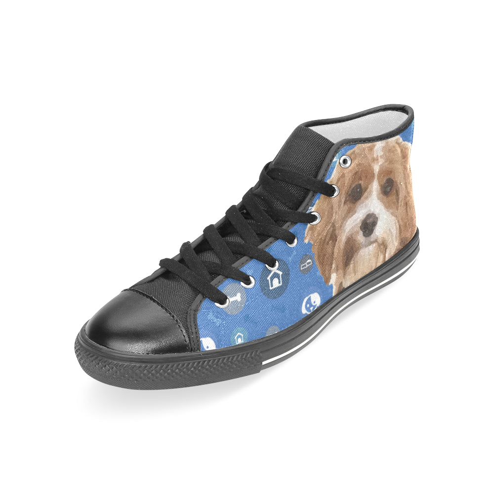 Cavapoo Dog Black Women's Classic High Top Canvas Shoes - TeeAmazing