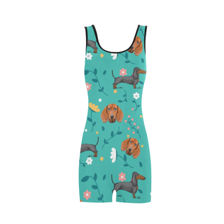 Dachshund Flower Classic One Piece Swimwear (Model S03) - TeeAmazing