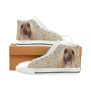 Afghan Hound White Men's Classic High Top Canvas Shoes - TeeAmazing