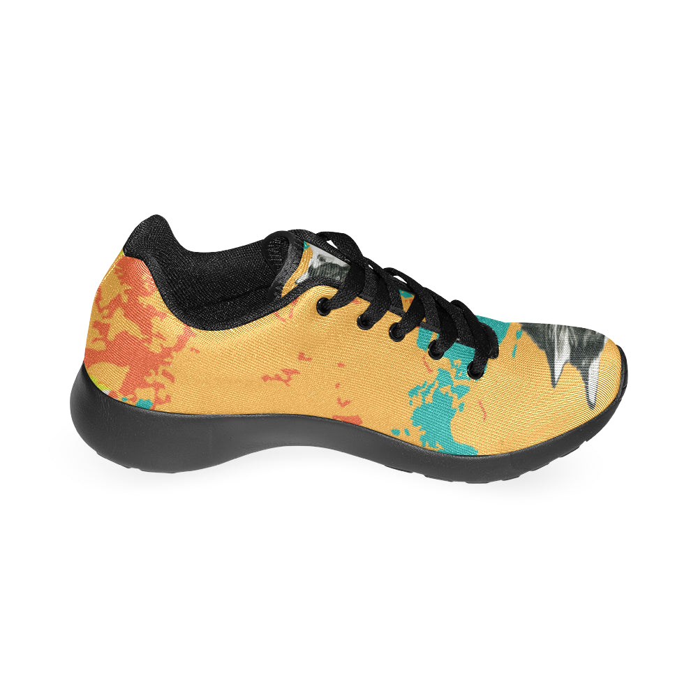 Alaskan Malamute Water Colour No.2 Black Sneakers for Women - TeeAmazing