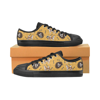 Akita Pattern Black Canvas Women's Shoes/Large Size (Model 018) - TeeAmazing