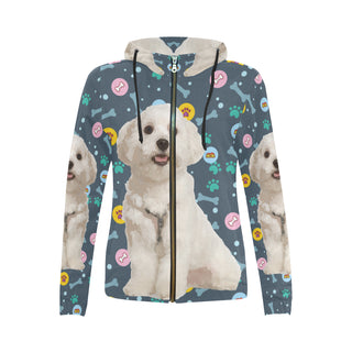Maltese All Over Print Full Zip Hoodie for Women - TeeAmazing