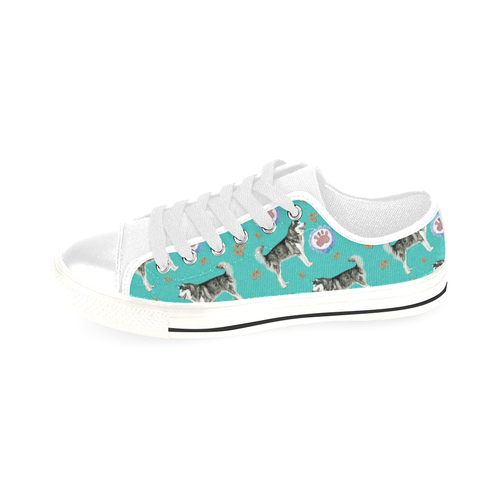 Alaskan Malamute Water Colour Pattern No.1 White Men's Classic Canvas Shoes/Large Size - TeeAmazing